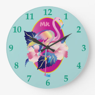 Pretty Pink Flamingo Tropical Hibiscus Flowers Large Clock