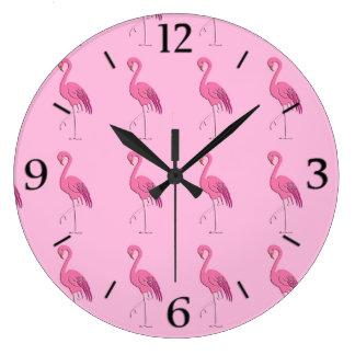 Pretty pink flamingo wallclocks