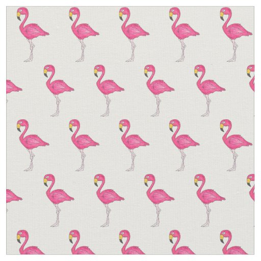 Pretty Pink Flamingos Fabric (White Background)