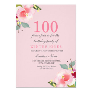 Pretty Pink Floral 100th Birthday Party Invitation