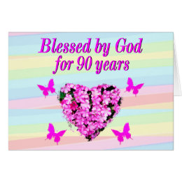90 year old birthday greeting cards greeting card templates pretty pink floral 90th birthday card bookmarktalkfo Image collections