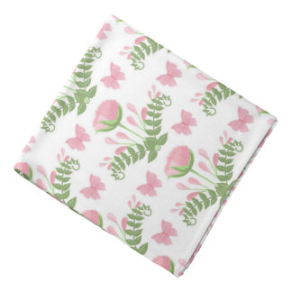 Pretty Pink Floral and Butterfly Bandana