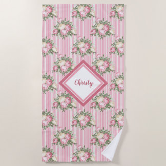 Pretty pink floral bouquets with green stripes beach towel