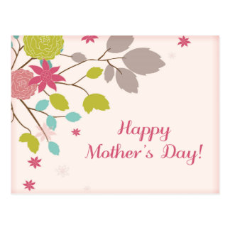 Pretty Pink Floral Branch Mothers Day Greeting Postcard