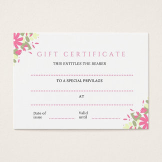 Pretty Pink Floral Business Gift Certificate