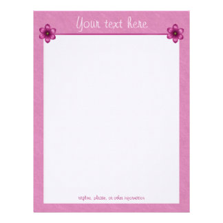 Pretty Pink Floral Customized Letterhead
