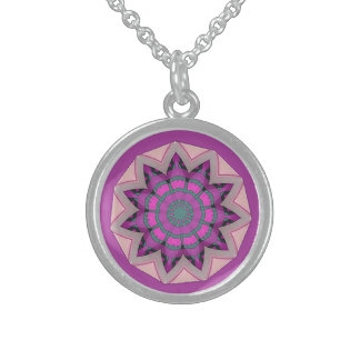 Pretty pink floral Design Sterling Silver Necklace