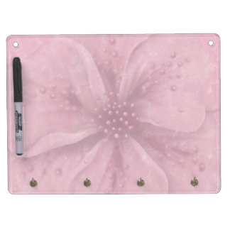 Pretty Pink Floral Dry Erase Board With Keychain Holder