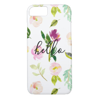 Pretty Pink Floral Hello iPhone 8/7 Case