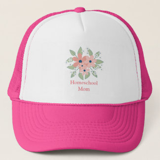 Pretty Pink Floral Homeschool Mom Trucker Hat
