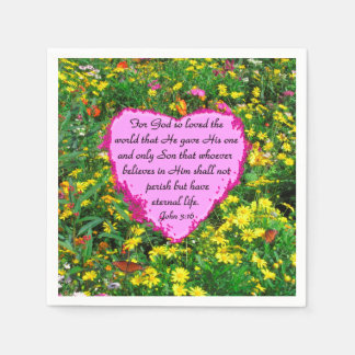 PRETTY PINK FLORAL JOHN 3:16 PHOTO DESIGN PAPER NAPKIN
