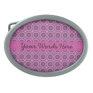 Pretty Pink Floral Pattern Belt Buckle