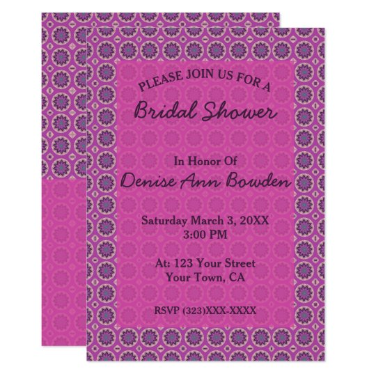 Pretty Pink  Floral Pattern Bridal Shower Card