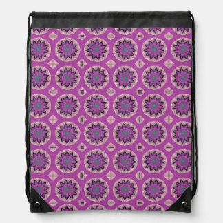 Pretty pink Floral Pattern Drawstring Bag