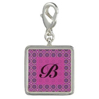 Pretty Pink floral pattern Monogram Charm