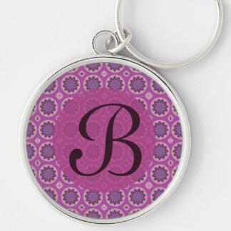 Pretty pink floral pattern Monogram Keychain
