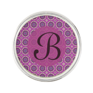 Pretty pink floral pattern Monogram Lapel Pin