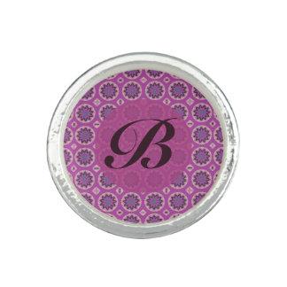 Pretty Pink floral pattern Monogram Photo Ring