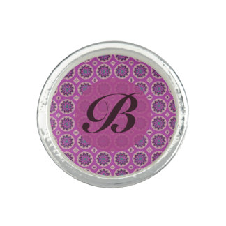 Pretty Pink floral pattern Monogram Ring