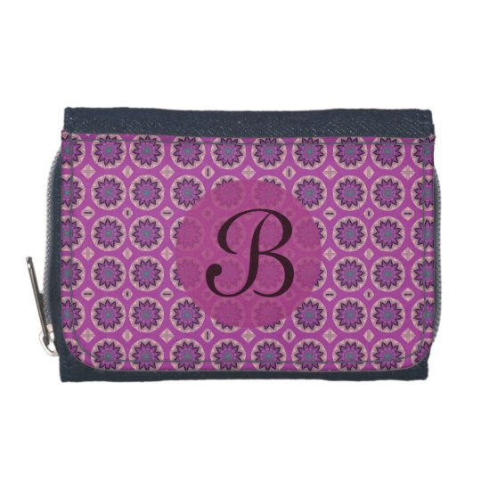 Pretty Pink Floral Pattern Monogram Wallets