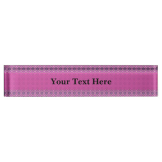 Pretty Pink Floral Pattern Nameplate