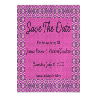 Pretty Pink Floral Pattern Save the Date Magnetic Invitations