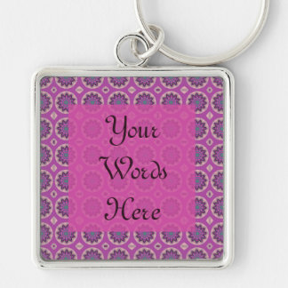 Pretty Pink floral pattern Silver-Colored Square Keychain