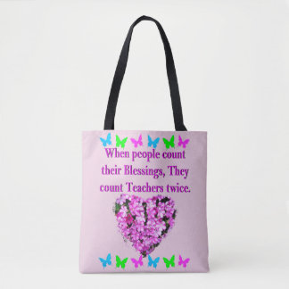 PRETTY PINK FLORAL TEACHER DESIGN TOTE BAG