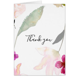 Pretty Pink Floral Thank you Card