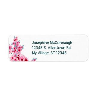 Pretty Pink Floral Watercolor Address Label