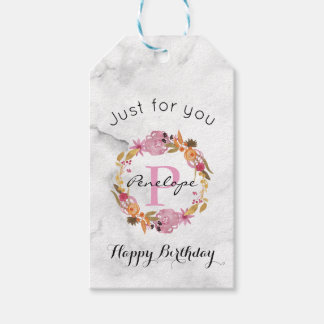 Pretty Pink Floral Wreath Monogram Birthday Gift Tags