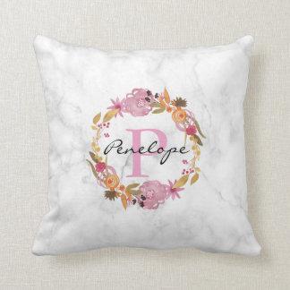 Pretty Pink Floral Wreath Monogram Throw Pillow
