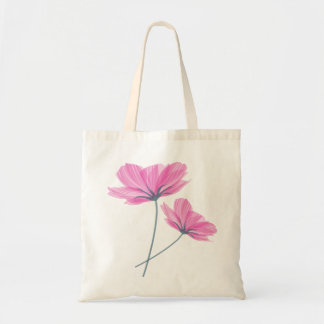 Pretty pink flower drawing tote bag