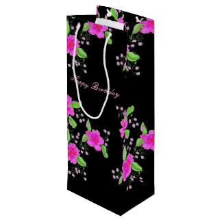 Pretty Pink Flowered Black Tall Bag