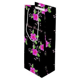 Pretty Pink Flowered Wine Bag