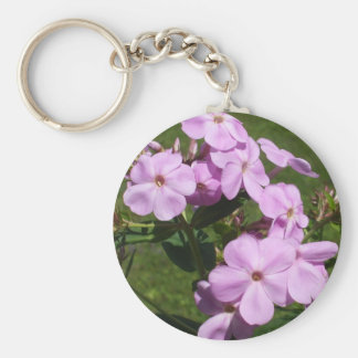 Pretty Pink Flowers Basic Round Button Keychain