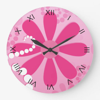 Pretty Pink Flowers Cute Retro Daisy Pattern Large Clock