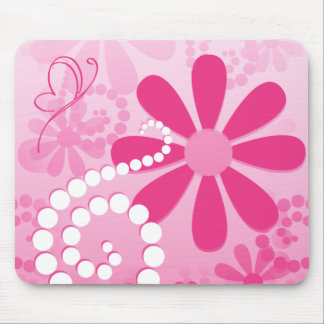 Pretty Pink Flowers Cute Retro Daisy Pattern Mouse Pad