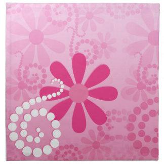Pretty Pink Flowers Cute Retro Daisy Pattern Cloth Napkins