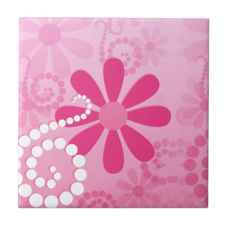Pretty Pink Flowers Cute Retro Daisy Pattern Tile