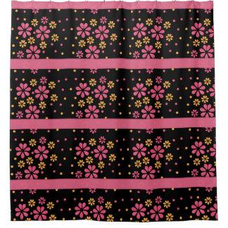 Pretty Pink Flowers Dots Pattern On Black