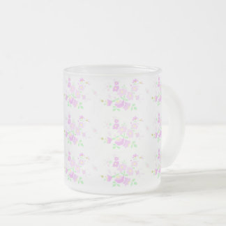 Pretty Pink Flowers Frosted Glass Coffee Mug