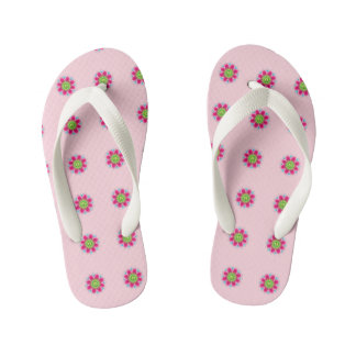 Pretty Pink Flowers Kid's Flip Flops
