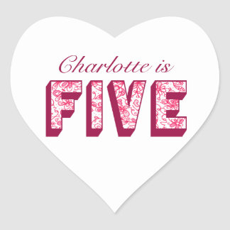 Pretty Pink Flowery Five Birthday Heart Stickers