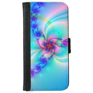 Pretty Pink Fractal Flower iPhone 6 Wallet Case