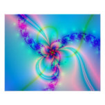 Pretty Pink Fractal Flower Poster