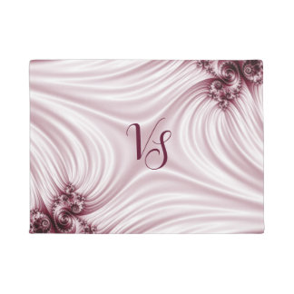 Pretty pink fractal. Silk imitation. Add monogram. Doormat