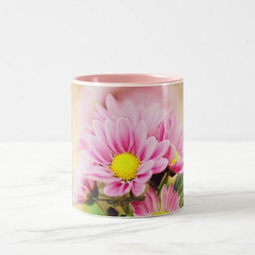 Pretty pink garden flowers coffee mugs