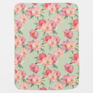 Pretty Pink Garden Flowers Watercolor Baby Blanket