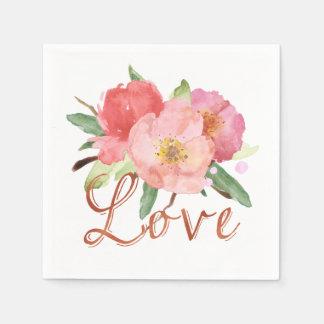 Pretty Pink Garden Flowers Watercolor Love Paper Napkins